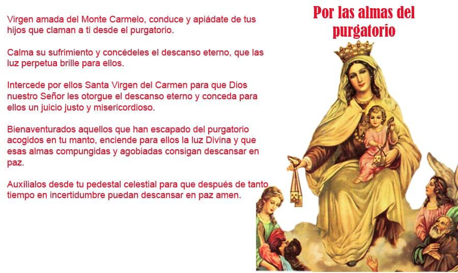oracion a la Nuestra señora del Carmen por las almas del purgatoro