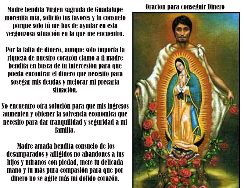 Oración a nuestra de Guadalupe para conseguir dinero urgente